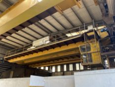 2 x 16,000kg SWL TWIN GIRDER TRAVELLING OVERHEAD CRANE, serial no. AP107(incomplete, no carriages or
