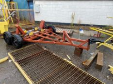 Twin Axle Pipe Trailer, approx. 3m long, with solid rubber tyresPlease read the following