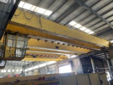 2 x 10,000kg SWL TWIN GIRDER TRAVELLING OVERHEAD CRANE, (incomplete, no carriages or winches),