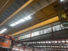 Demag 15T + 15T SWL TWIN GIRDER TRAVELLING OVERHEAD CRANE, serial no. 2004 55321, approx. 19m