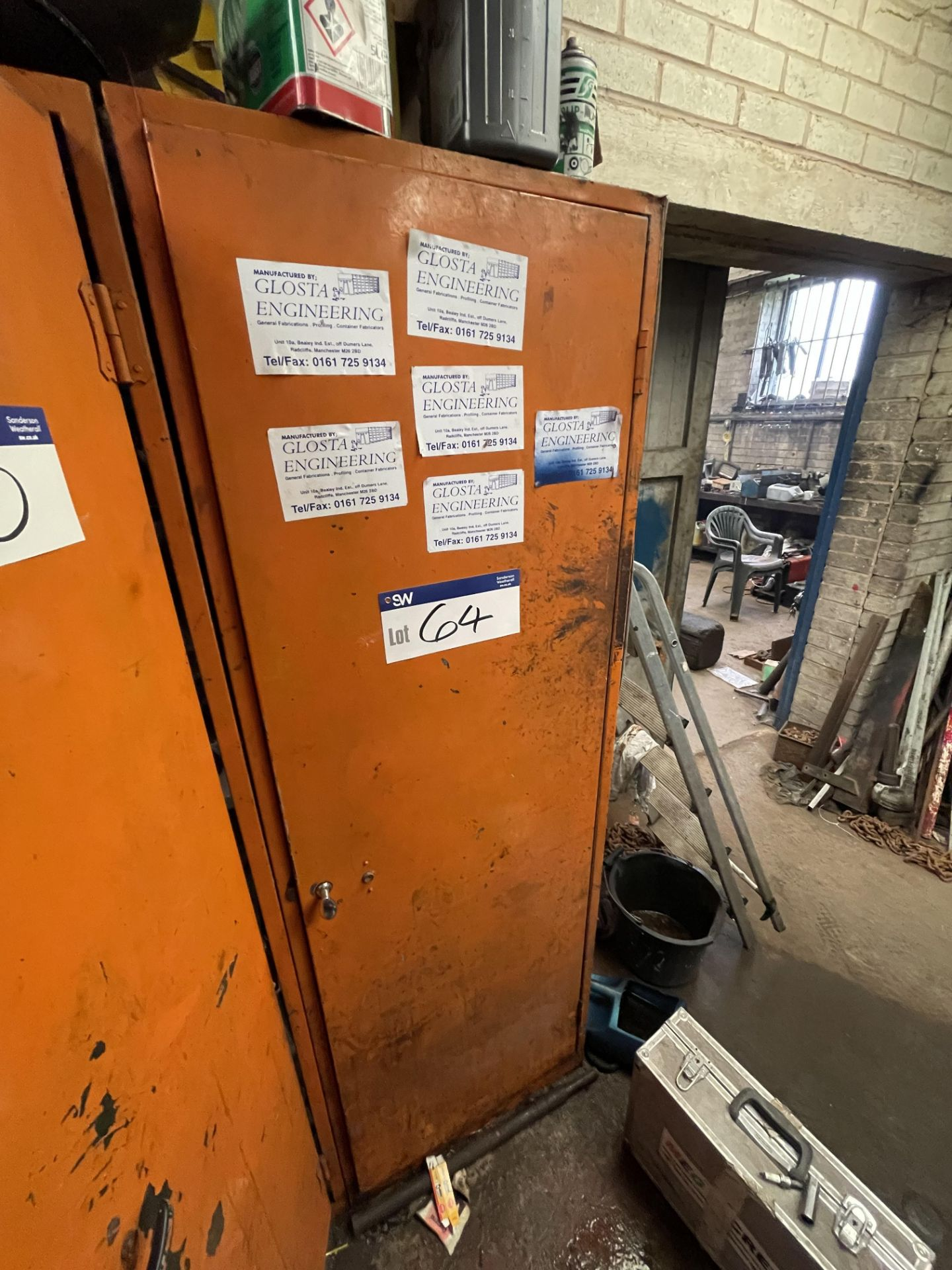 Single Door Steel Cabinet, with contents(this lot is subject to 15% buyer's premium)Please read the - Image 2 of 2