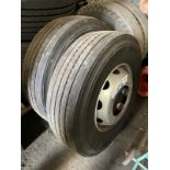 Two Bridgestone 315 70 Steer Tyres, 156 load rating, on rims, unused(this lot is subject to 15%