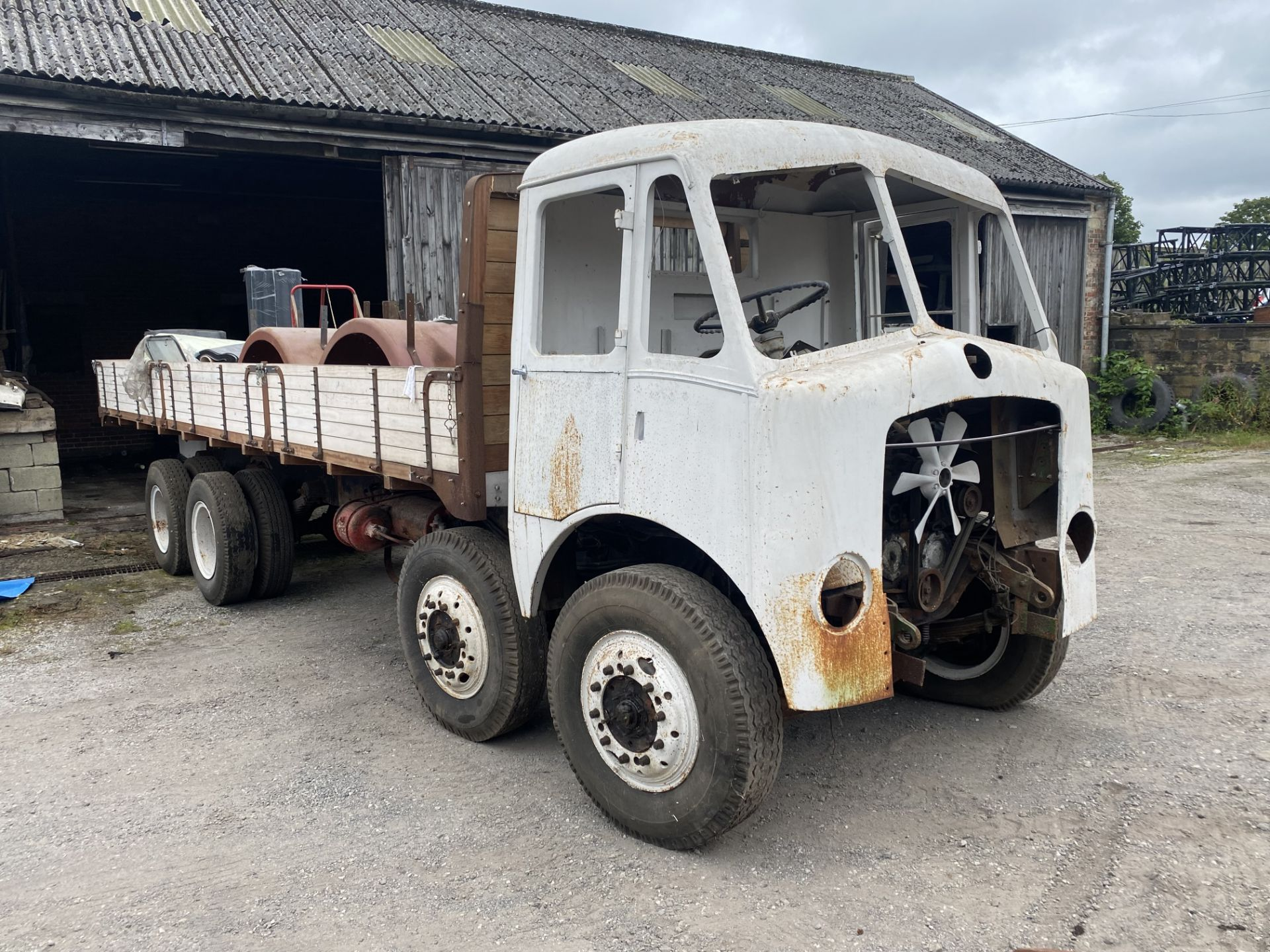 AEC Mammoth Major 8x4 Rigid Timber Dropside Truck, partially restored, with quantity of spare - Image 2 of 21