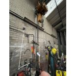 Two Electric Chain Hoist & Chain Block, with pendant control, as set out on girder(this lot is