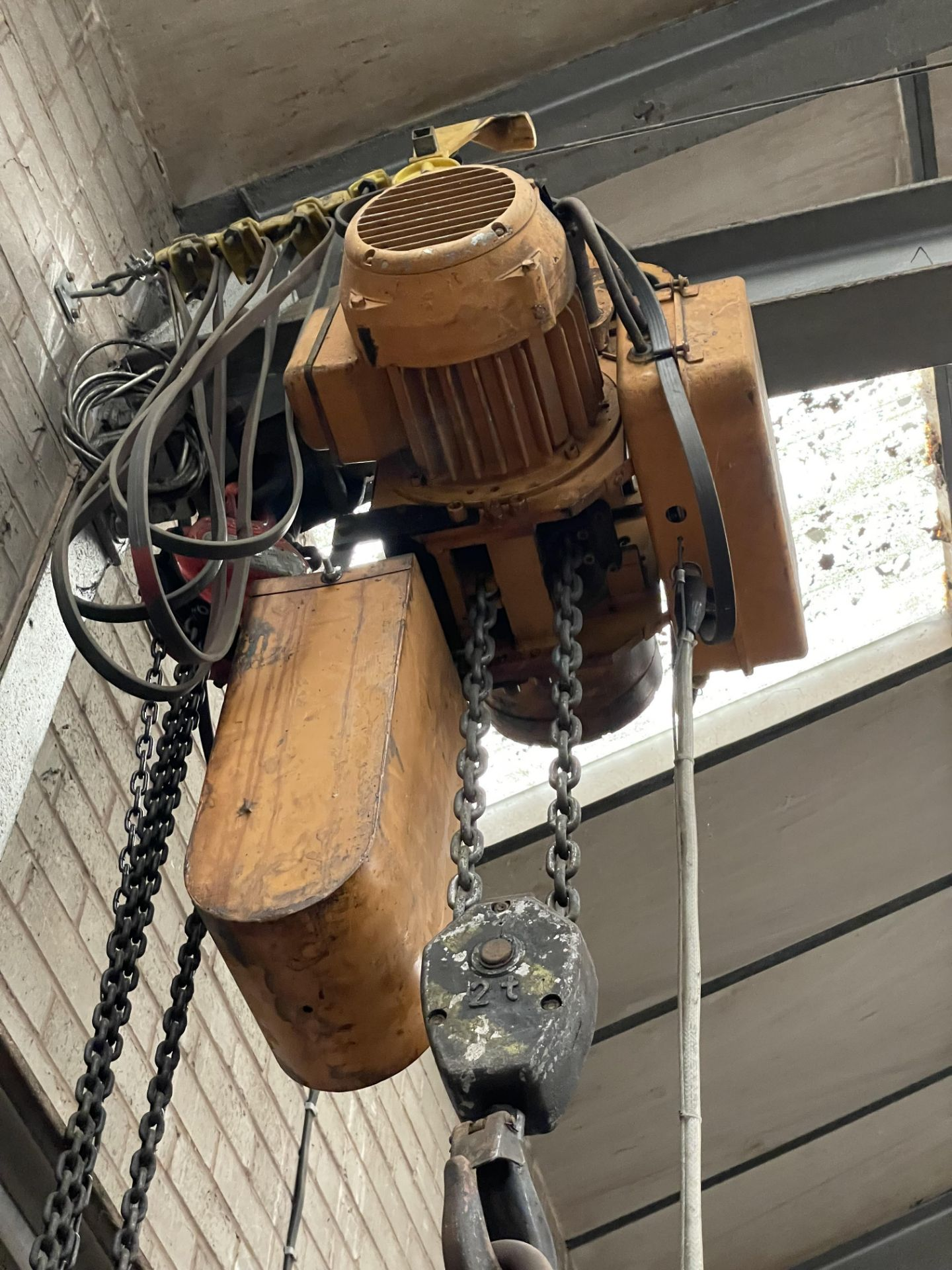 Two Electric Chain Hoist & Chain Block, with pendant control, as set out on girder(this lot is - Image 2 of 3