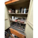 Double Door Timber Cabinet & Chest of Drawers, with contents(this lot is subject to 15% buyer's