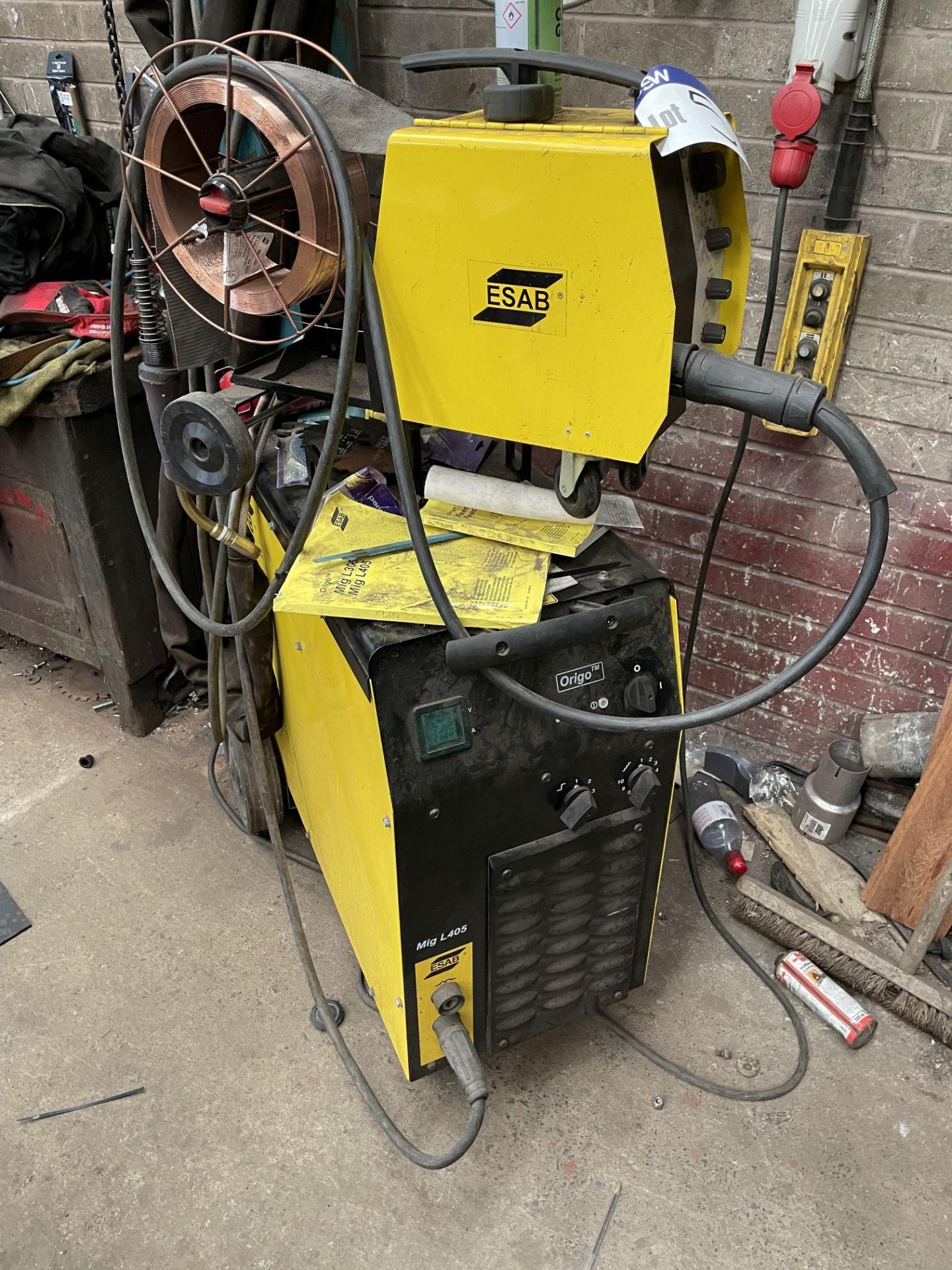 Esab Origo MIG L405 Mig Welder, serial no. 331-530-0523, with Esab Feed L304 wire feed unit and