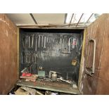 Double Door Timber Cabinet, with contents(this lot is subject to 15% buyer's premium)Please read