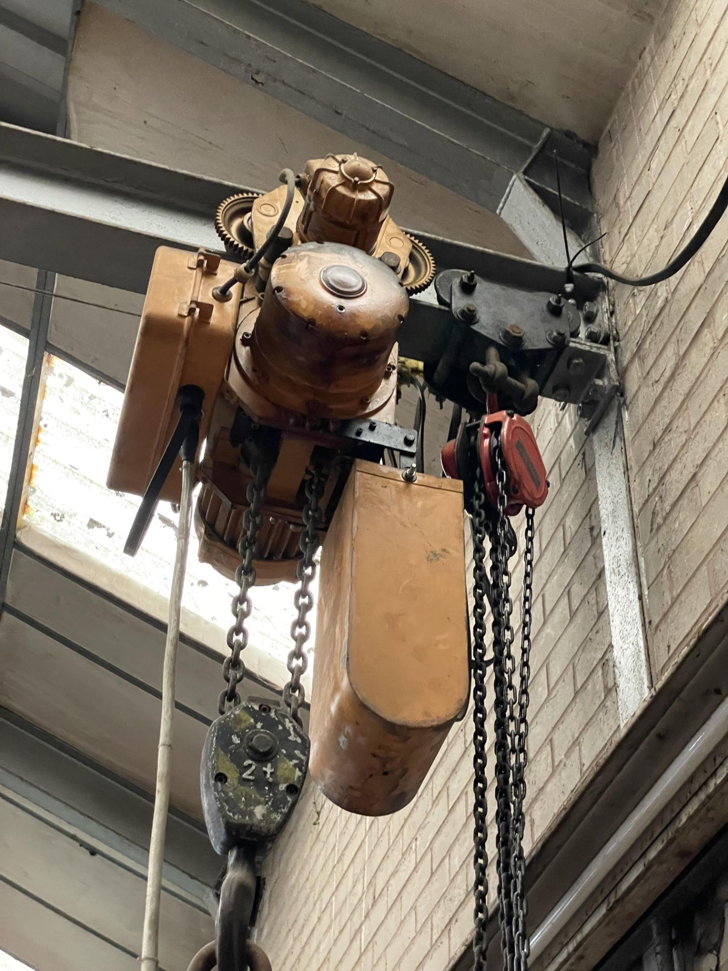 Two Electric Chain Hoist & Chain Block, with pendant control, as set out on girder(this lot is - Image 3 of 3