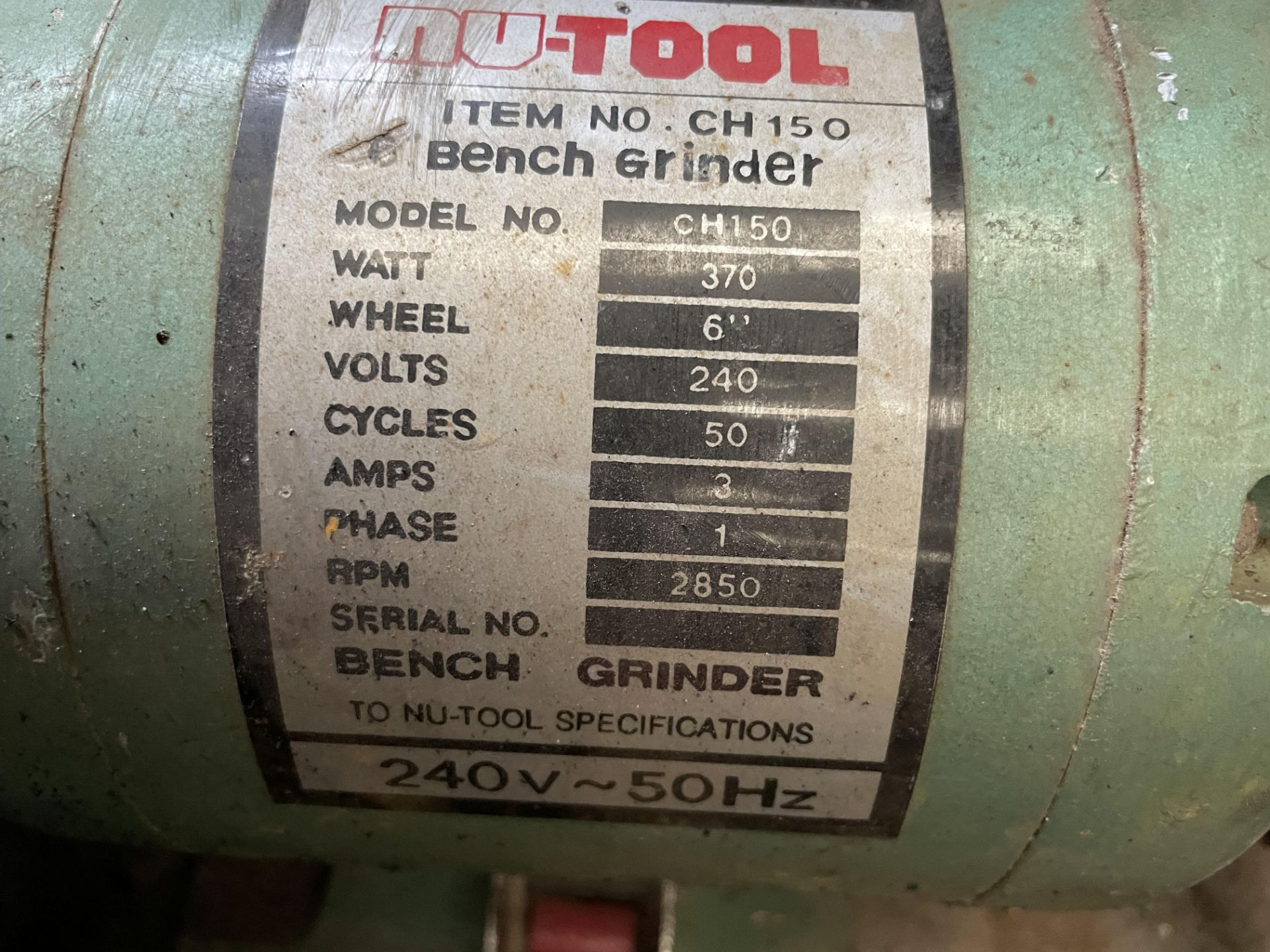 Nu-Tool CH150 6in Double Ended Bench Grinder, 240V(this lot is subject to 15% buyer's premium) - Image 2 of 2