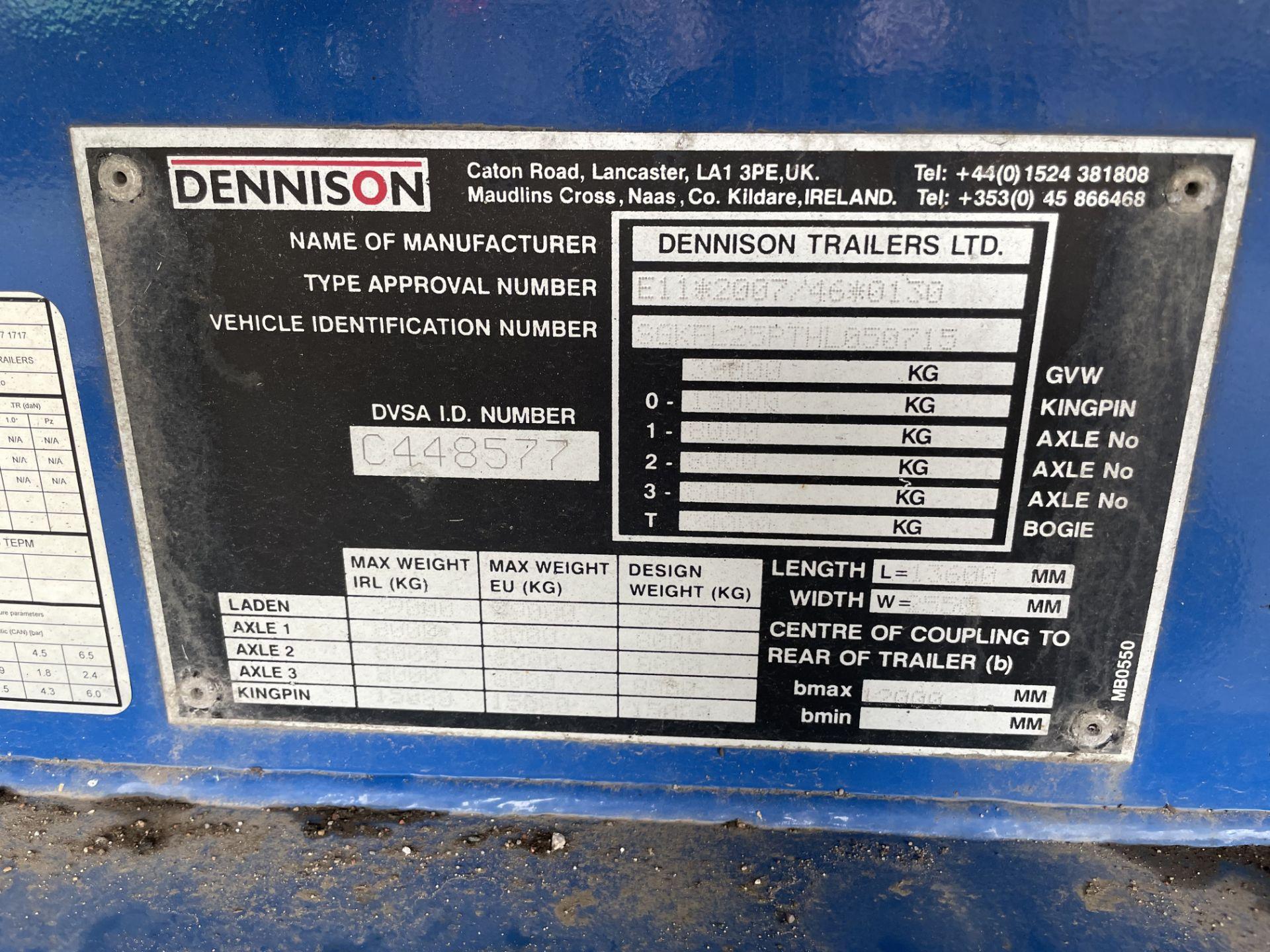 DENNISON TRI-AXLE 24,000KG HEAVY DUTY FLAT SEMI TRAILER, VIN no. SGKFL25PTHL050715, year of - Image 9 of 10