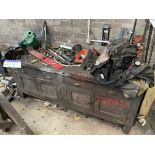 Timber Workshop Bench, approx. 2m x 600mm, with fitted Woden 4in bench vice (excluding contents on