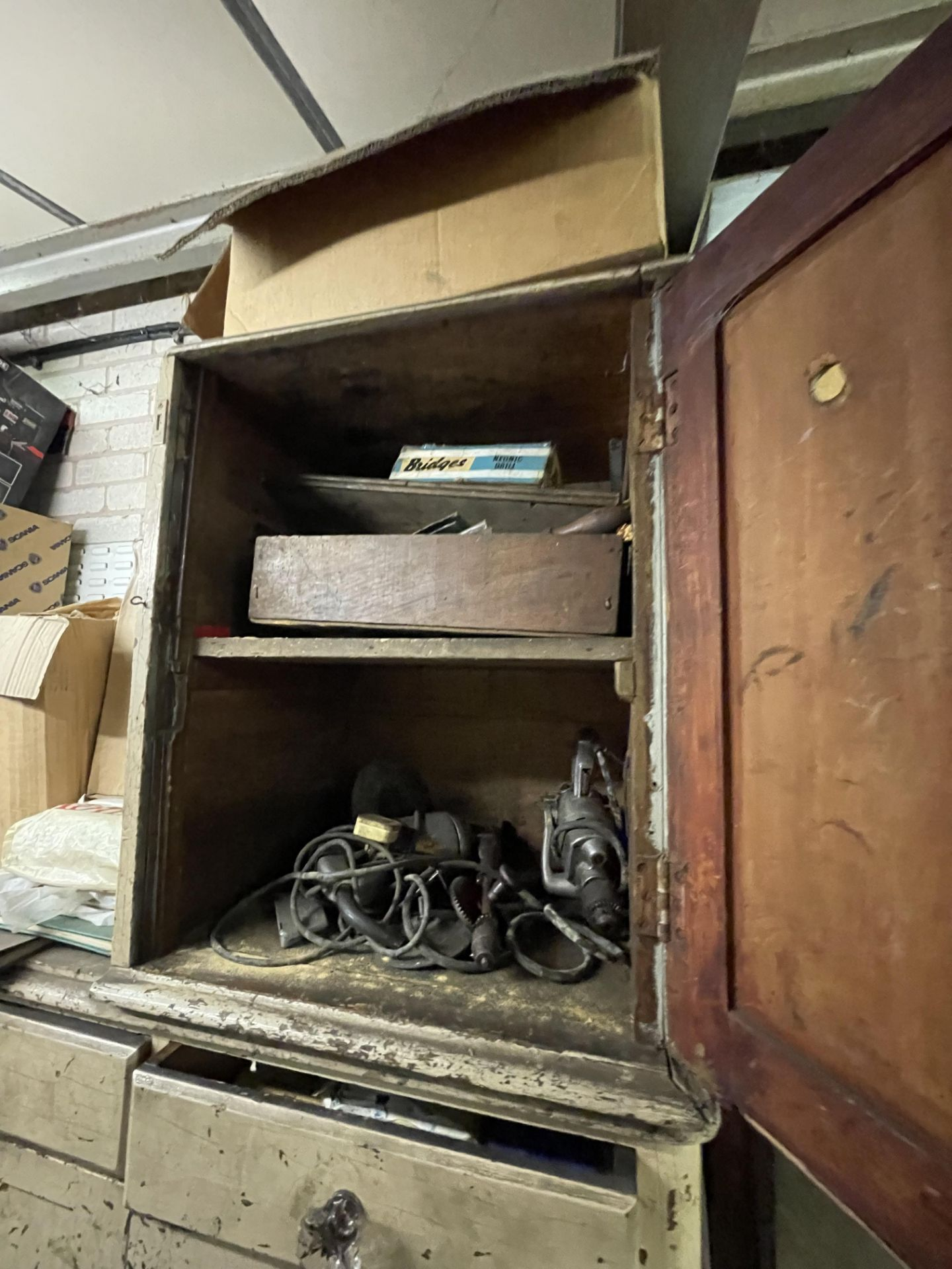 Three Assorted Timber Cabinets/ Drawers, with contents(this lot is subject to 15% buyer's premium)