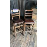 Two Wood Framed Leather Effect Upholstered Bar Chairs(this lot is subject to 15% buyer's premium)