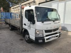 Mitsubishi Fuso Canter 3C13 Dropside Wagon, with fitted glass rack, registration no. YC65 AVU,