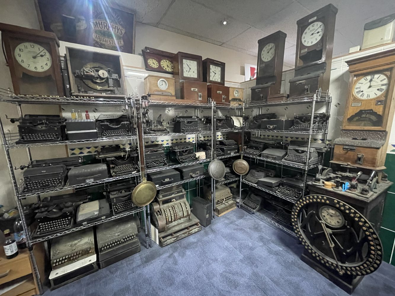Office Furniture, Period Roll Top Desks; Cash Registers; Typewriters; Time Clocks; Balance Scales and General Stocks