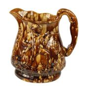 Rockinham Pitcher with Hunter and Hound Handle