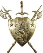 Renaissance Revival Metal Coat of Arms Shield