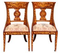 Pair of Italian Marquetry Inlaid Wooden Chairs