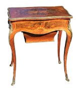 Inlaid Marquetry Lift-Top Side Table