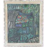 Mid Century Abstract Scene, Oil/Canvas Board