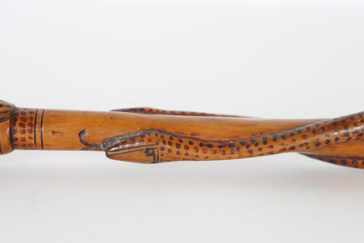 Folk Art Carved & Painted Snake Cane - Image 3 of 4