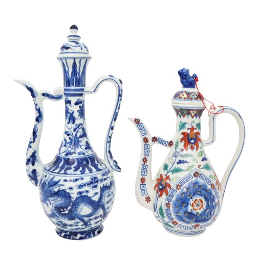 Pair of Chinese Blue & White Teapots