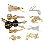 (9) Gilt Musical Pins/Brooches