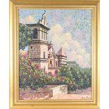 Architectural Church Scene, Oil on Board, Signed