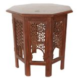 Thai Octagonal Carved Wood Table