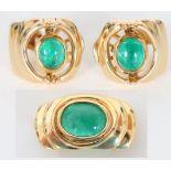 Pair of 18K & Emerald Earrings and Slide 14.2 DWT