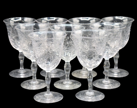 (9) Etched Crystal Wine Glasses