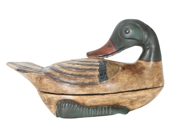 Vintage Polychrome Hand-Carved Duck Container