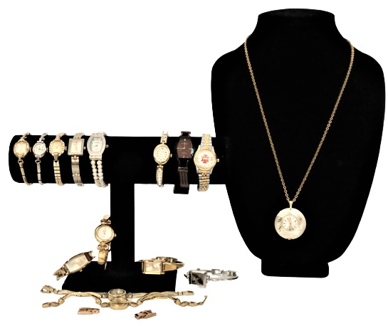 (14) Ladies Watches and (1) Clock Necklace - Image 2 of 14