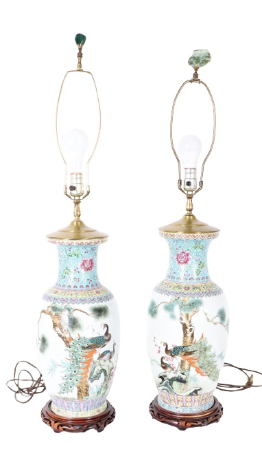 Pair of Chinese Figural Scene Lamps