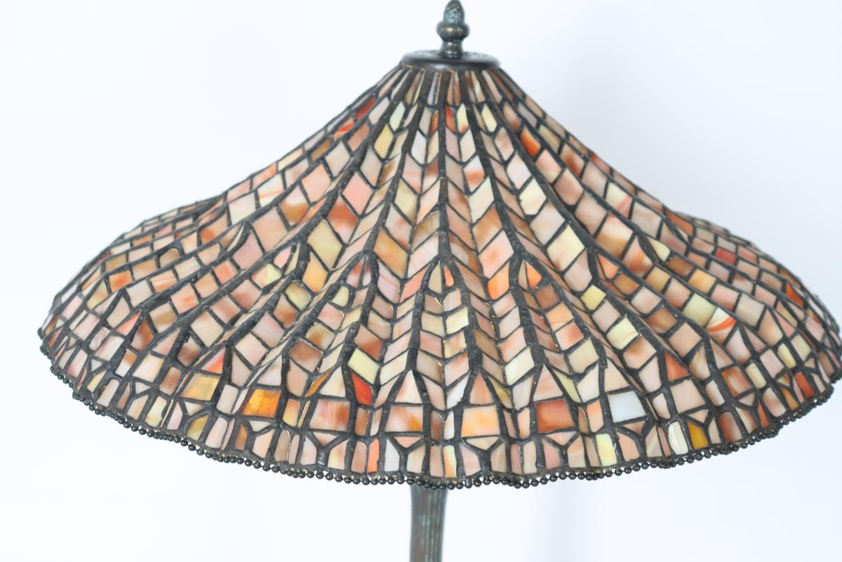 Stained Glass Lamp Signed Dale Tiffany - Image 4 of 11
