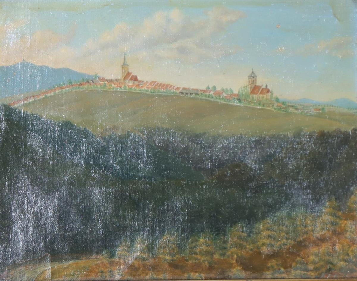 German Hill Town Oil on Board - Image 3 of 4