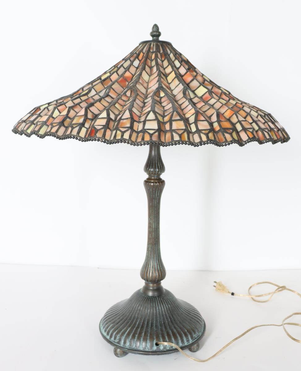 Stained Glass Lamp Signed Dale Tiffany - Image 5 of 11