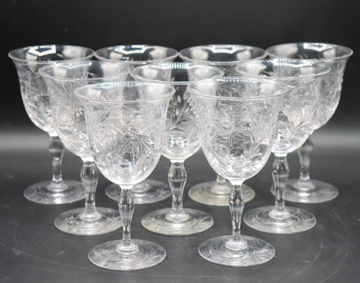 (9) Etched Crystal Wine Glasses - Image 5 of 5