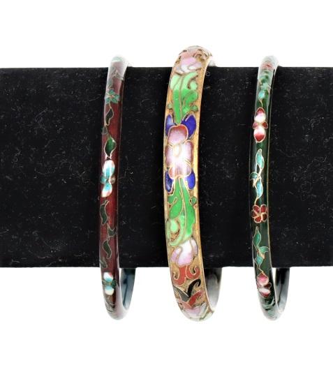 Set of 3 Chinese Cloisonne Bracelets