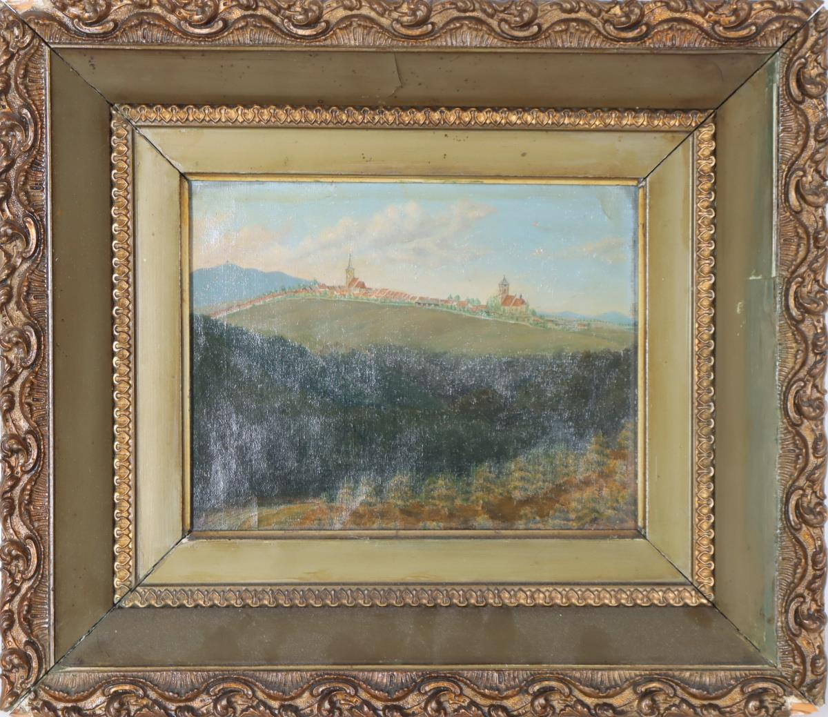 German Hill Town Oil on Board - Image 2 of 4