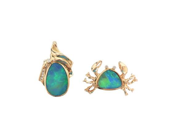 (2) Opal/14k Gold Pendant & Brooch 10.7 DWT