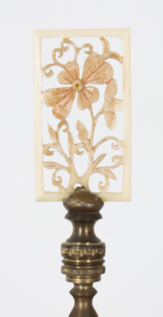 Pair of Steuben Green Jade and Alabaster Lamps - Image 3 of 3