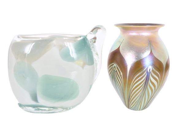Pair of Iridescent Art Glass Vases