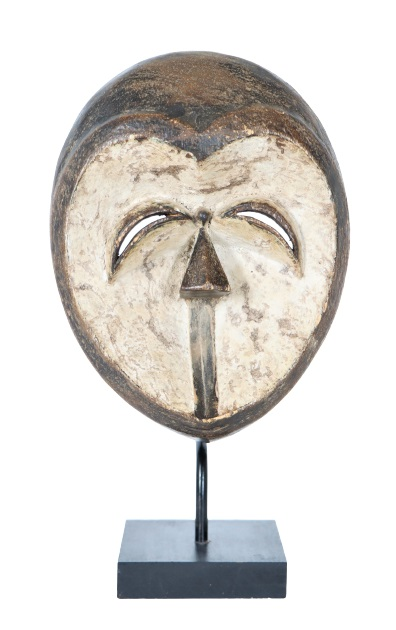 African Ceremonial Face Mask w Heart-Shaped Face