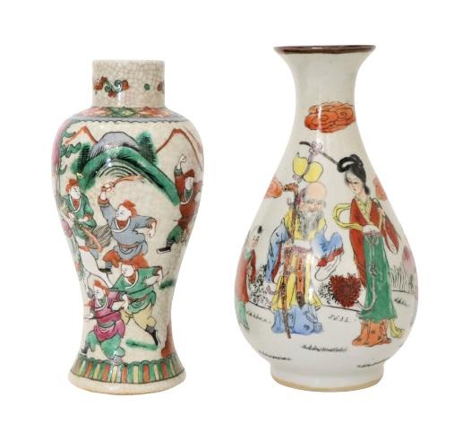 Pair of Chinese Figural Craquelure Vases