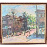 20th C Oil on Canvas, Street Scene