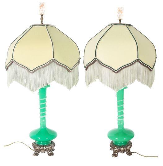 Pair of Steuben Green Jade and Alabaster Lamps