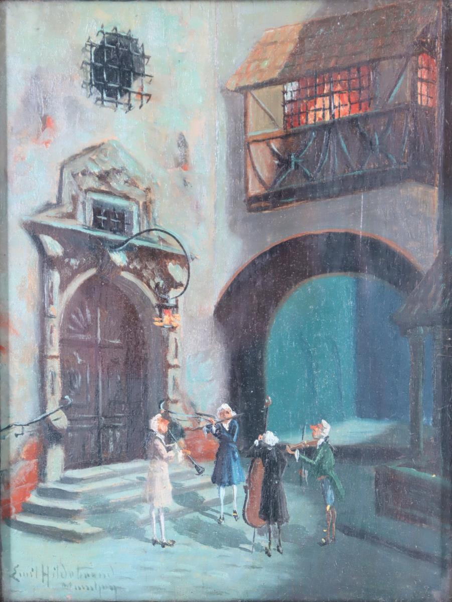 Emil Hildebrand (19th C.) German, Oil on Board - Image 4 of 4