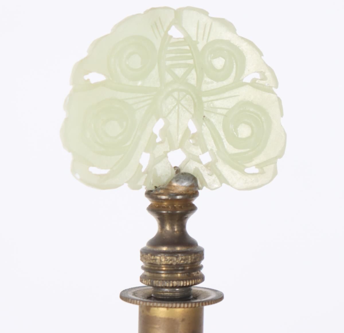 Steuben Green Jade Lamp w/ Alabaster Threaded Body - Image 3 of 3